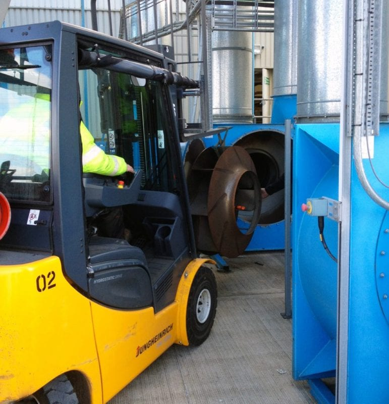 Dust Fan Impeller Removed with Fork Lift Truck